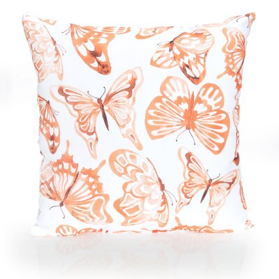Watercolor Butterfly Outdoor Throw Pillow Size: 20 H x 20 W x 2 D, Color: Orange