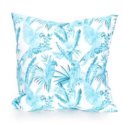 Tropical Parrot Outdoor Throw Pillow Size: 26 H x 26 W x 2 D, Color: Turquoise