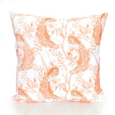 Peacock Outdoor Throw Pillow Size: 26 H x 26 W x 2 D, Color: Orange
