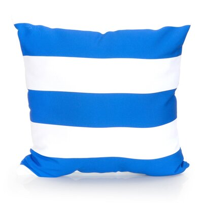 Cabana Stripe Outdoor Throw Pillow Size: 26 H x 26 W x 2 D, Color: Blue