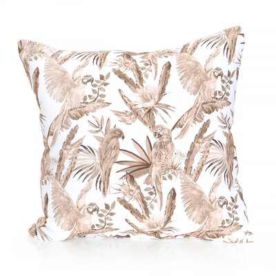 Tropical Parrot Outdoor Throw Pillow Size: 20 H x 20 W x 2 D, Color: Brown