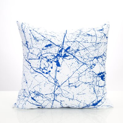 Marble Vein Outdoor Throw Pillow Size: 20 H x 20 W x 2 D, Color: Blue