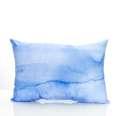 Watercolor Stripe Outdoor Lumbar Pillow Color: Blue