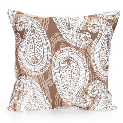 Paisley Outdoor Throw Pillow Size: 20 H x 20 W x 2 D, Color: Brown