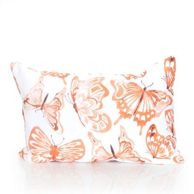 Watercolor Butterfly Outdoor Lumbar Pillow Color: Orange
