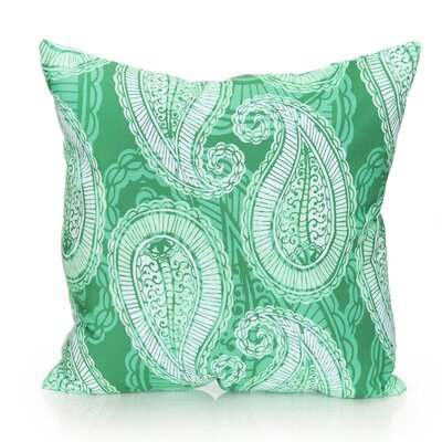 Paisley Outdoor Throw Pillow Size: 26 H x 26 W x 2 D, Color: Kelly Green
