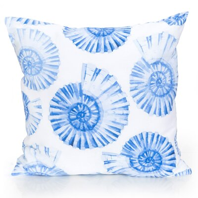 Nautilus Shell Outdoor Throw Pillow Color: Blue, Size: 26 H x 26 W x 2 D