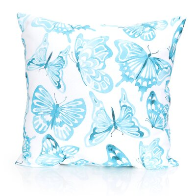 Watercolor Butterfly Outdoor Throw Pillow Size: 26 H x 26 W x 2 D, Color: Turquoise