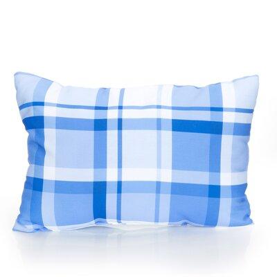 Plaid Outdoor Lumbar Pillow Color: Blue