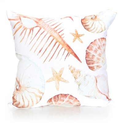 Sea Life Outdoor Throw Pillow Size: 26 H x 26 W x 2 D, Color: Yellow