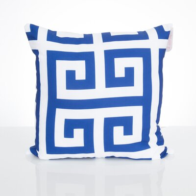 Greek Key Outdoor Throw Pillow Size: 20 H x 20 W x 2 D, Color: Blue