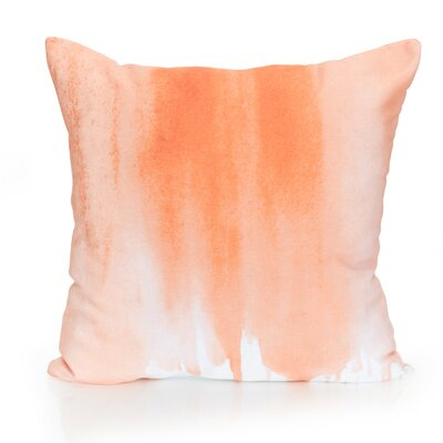 Ombre Watercolor Outdoor Throw Pillow Size: 20 H x 20 W x 2 D, Color: Orange