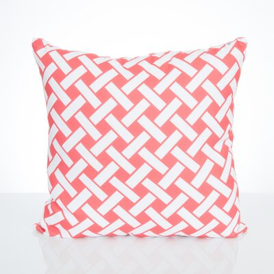 Lattice Outdoor Throw Pillow Size: 26 H x 26 W x 2 D, Color: Coral