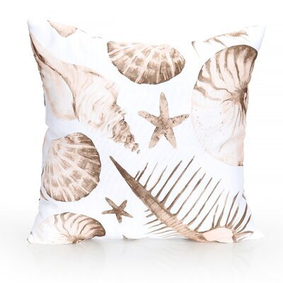 Sea Life Outdoor Throw Pillow Size: 20 H x 20 W x 2 D, Color: Brown