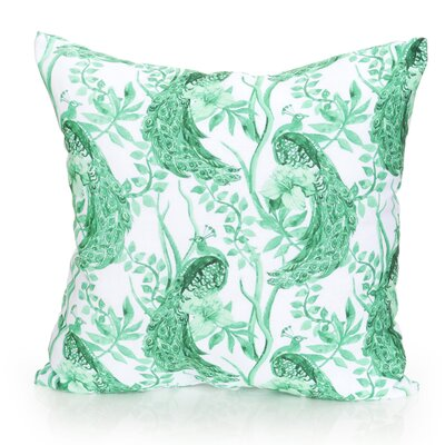 Peacock Outdoor Throw Pillow Size: 20 H x 20 W x 2 D, Color: Kelly Green