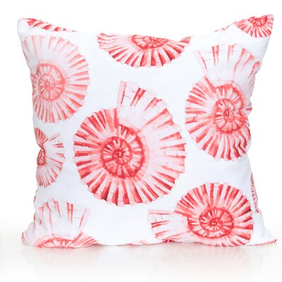 Nautilus Shell Outdoor Throw Pillow Size: 20 H x 20 W x 2 D, Color: Coral