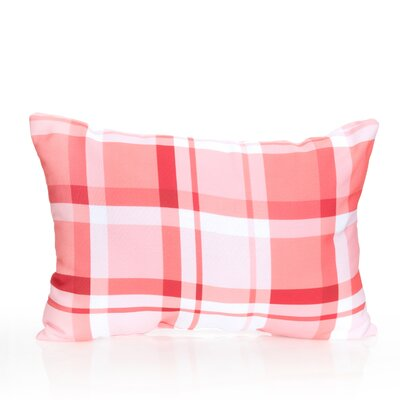 Plaid Outdoor Lumbar Pillow Color: Coral