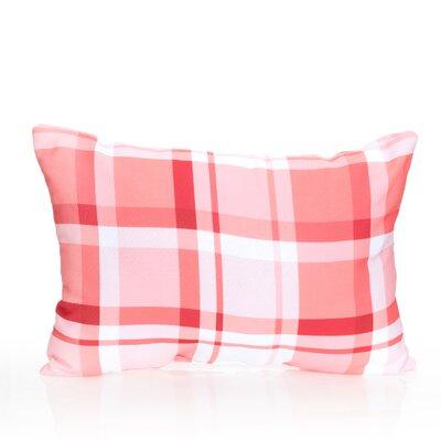 Plaid Outdoor Lumbar Pillow Color: Coral