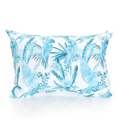 Tropical Parrot Outdoor Lumbar Pillow Color: Turquoise