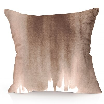 Ombre Watercolor Outdoor Throw Pillow Size: 26 H x 26 W x 2 D, Color: Brown