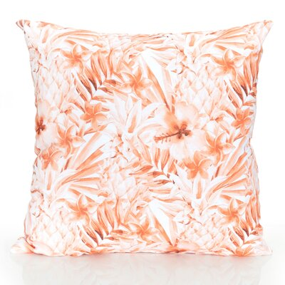 Tropical Pineapple Outdoor Throw Pillow Size: 20 H x 20 W x 2 D, Color: Orange
