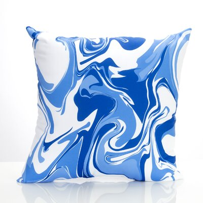 Swirl Marble Outdoor Throw Pillow Size: 20 H x 20 W x 2 D, Color: Blue