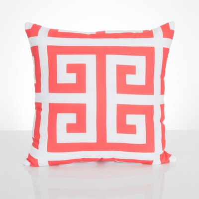 Greek Key Outdoor Throw Pillow Size: 26 H x 26 W x 2 D, Color: Coral