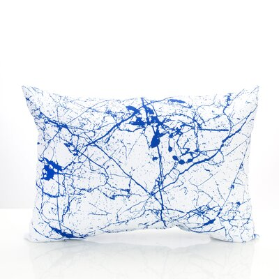 Marble Vein Outdoor Lumbar Pillow Color: Blue