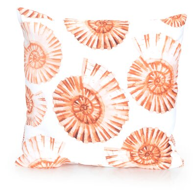 Nautilus Shell Outdoor Throw Pillow Size: 26 H x 26 W x 2 D, Color: Orange