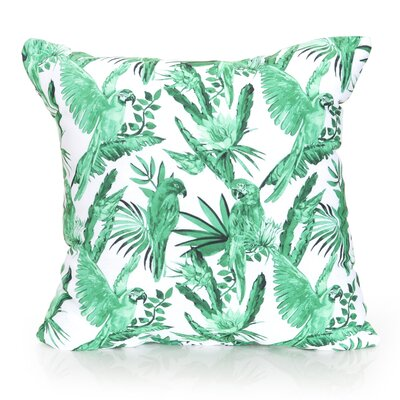 Tropical Parrot Outdoor Throw Pillow Size: 20 H x 20 W x 2 D, Color: Kelly Green