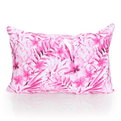 Tropical Pineapple Outdoor Lumbar Pillow Color: Fuchsia