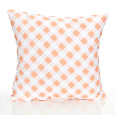 Check Plaid Outdoor Throw Pillow Size: 26 H x 26 W x 2 D, Color: Orange