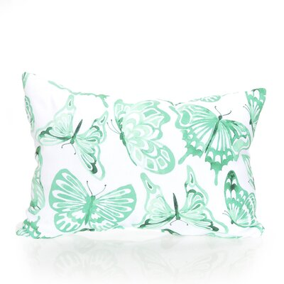 Watercolor Butterfly Outdoor Lumbar Pillow Color: Mint
