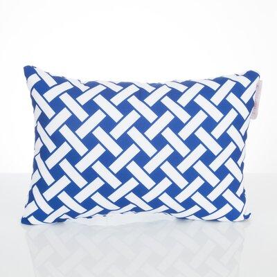 Lattice Outdoor Lumbar Pillow Color: Blue