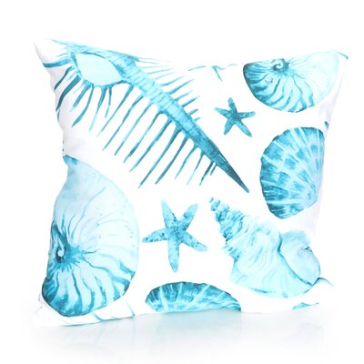 Sea Life Outdoor Throw Pillow Size: 26 H x 26 W x 2 D, Color: Turquoise