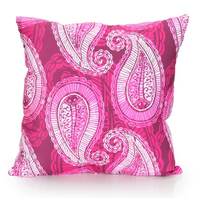 Paisley Outdoor Throw Pillow Size: 26 H x 26 W x 2 D, Color: Fuchsia