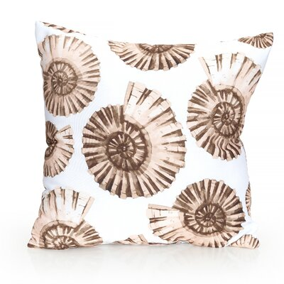 Nautilus Shell Outdoor Throw Pillow Size: 26 H x 26 W x 2 D, Color: Brown