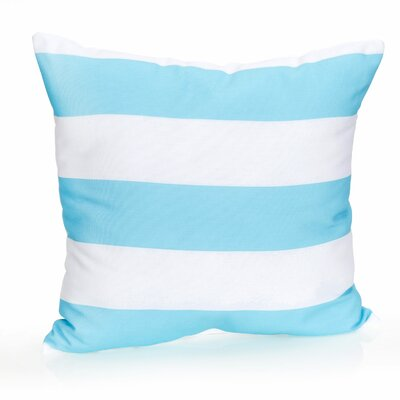 Cabana Stripe Outdoor Throw Pillow Color: Turquoise, Size: 26 H x 26 W x 2 D