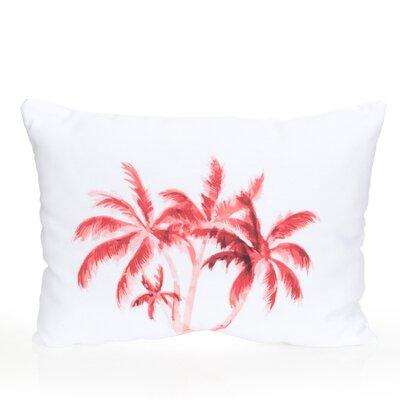 Palm Tree Outdoor Lumbar Pillow Color: Coral