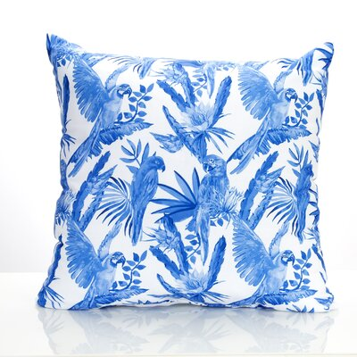 Tropical Parrot Outdoor Throw Pillow Size: 26 H x 26 W x 2 D, Color: Blue