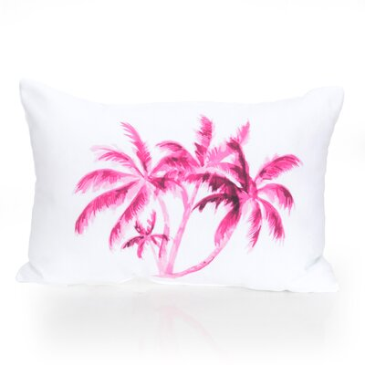 Palm Tree Outdoor Lumbar Pillow Color: Fuchsia