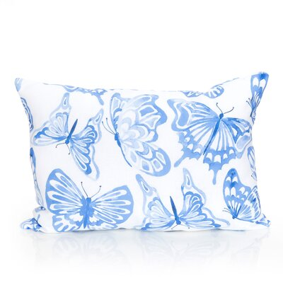 Watercolor Butterfly Outdoor Lumbar Pillow Color: Blue