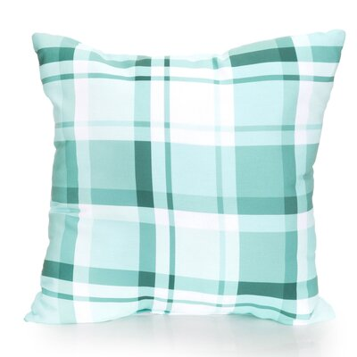 Plaid Outdoor Throw Pillow Color: Mint, Size: 26 H x 26 W x 2 D