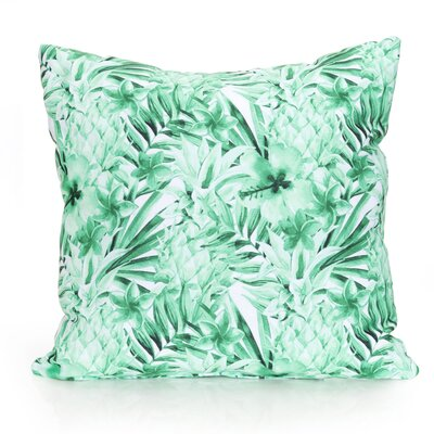 Tropical Pineapple Outdoor Throw Pillow Size: 26 H x 26 W x 2 D, Color: Kelly Green