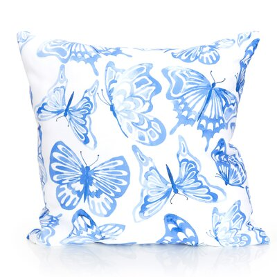 Watercolor Butterfly Outdoor Throw Pillow Color: Blue, Size: 26 H x 26 W x 2 D