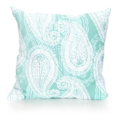 Paisley Outdoor Throw Pillow Size: 26 H x 26 W x 2 D, Color: Mint