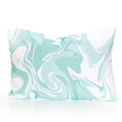 Swirl Marble Outdoor Lumbar Pillow Color: Mint