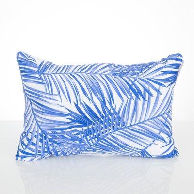 Palm Fronds Outdoor Lumbar Pillow Color: Blue