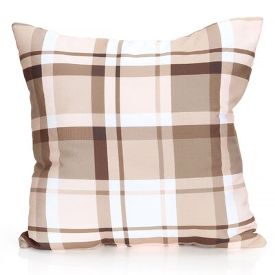 Plaid Outdoor Throw Pillow Size: 26 H x 26 W x 2 D, Color: Brown
