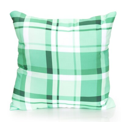 Plaid Outdoor Throw Pillow Size: 26 H x 26 W x 2 D, Color: Kelly Green